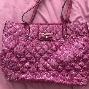 Guess pink sequin bag